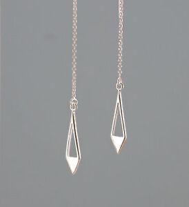 *IAJ* 925 STERLING SILVER DIAMOND w/ CUT-OUT DANGLE Ear Thread Threader Earrings