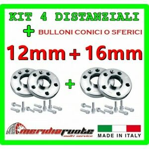 KIT 4 DISTANZIALI PER PEUGEOT 307 SW CC BREAK 3 2001+ PROMEX ITALY 12mm + 16mm