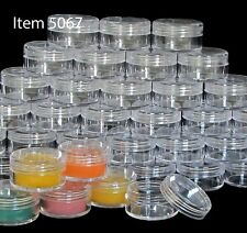 200 Cosmetic Jars Plastic Lip Balm Containers Clear Lids 10 Gram 10 ml | 5067