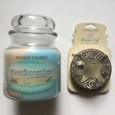 Yankee Candle BEACHCOMBER 13 oz SWIRL & BEACHCOMBER JAR CANDLE ILLUMA-LID HTF