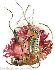 "Wall Art - ""Seahorse Cove"" Metal Wall Sculpture - Sea Horse & Coral - Nautical"
