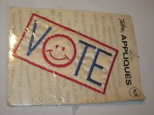 vintage Talon Appliques Vote Sew Right On patch nos smiley face smiling large