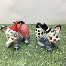 Dogs Puppies Humorous Anthropomorphic Salt and Pepper Shakers Mid Century VTG