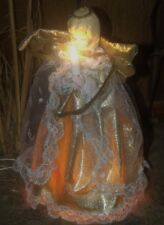 Vtg Christmas Lighted Gold Lace Dress Praying Angel Girl Figure Tree Topper Top