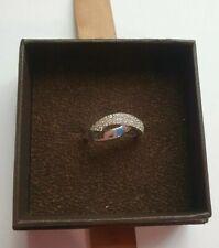 9ct White Gold and 0.25ct Diamond Pave Set Fancy Twist Ring - Size UK I