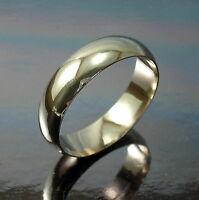 9ct Yellow Gold Heavy D Shape 6mm Wedding Band Ring UK Size R1/2 UK Hallmarked