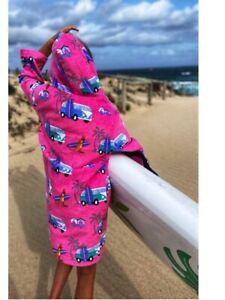 Pink Kombi Hooded Robe Back Beach Co