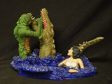 CREATURE VS ALLIGATOR WITH GIRL SOLID RESIN MODEL NEWLY BUILT