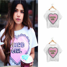 Crop Top Cropped T-Shirt WEIRD GIRL Heart Fashion Kawaii Japanese Harajuku