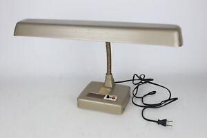 Vintage Mid Century Brown Metal Wide Drafting Gooseneck Desk Lamp Retro - Works
