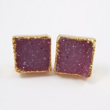 Druzy Studs,Gold plated Silver Square Druzy Pink Agate 10mm Earring Studs-1 Pair