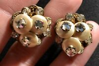 Vintage Robert Signed Gold Tone Faux Pearl Rhinestone Clip on Antique Earrings