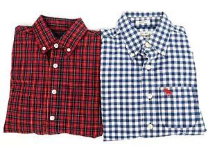 Lot Boys Dress Shirts IZOD Abercrombie Sizes 8 & M Multicolor Plaid Button Down