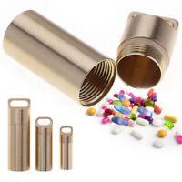 Mini Pill Box Case Holder Container Metal Capsule Bottle Travel Waterproof S M L