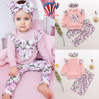 Newborn Baby Girl Boy Outfit Clothes Romper Jumpsuit Bodysuit Pants Headband Set