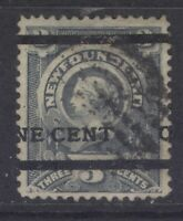 NEWFOUNDLAND 76 1897 1c ON 3c GREY TYPE B SURCHARGE VF USED CV$300