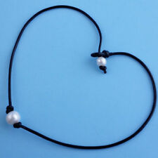Women Pearl Necklace Genuine Leather Cord Choker Jewelry Handmade New
