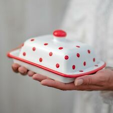 Handmade White and Red Polka Dot Ceramic Covered Butter Dish With Lid