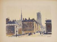 CITYSCAPE. PARIS. AQUARELLE SUR PAPIER. A. GUERIN. CIRCA 1940.