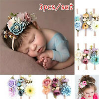 3pcs/set Baby Flower Headband Newborn Photography Props Girls Infant Headwear