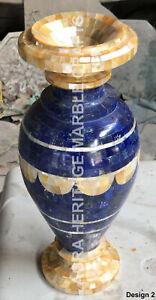 "12"" Blue Marble Decorative Flower Vase Lapis Lazuli Inlay Hallway Decor E1457"