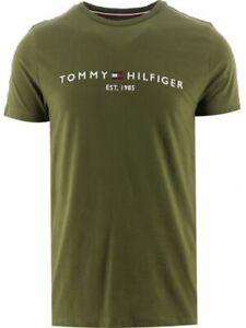Tommy Hilfiger Men's Logo T-Shirt Cotton Green Short Sleeve Casual Crew Neck Top