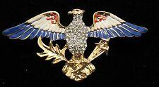 PATRIOTIC USA  RED WHITE AND BLUE ENAMEL & RHINESTONE EAGLE   BROOCH  PIN