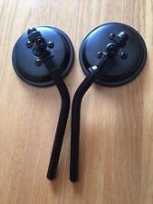 "Black 3 Inch Round Mirrors Pair Harley Bolt On 5"" Adjustable Stems Left or Right"