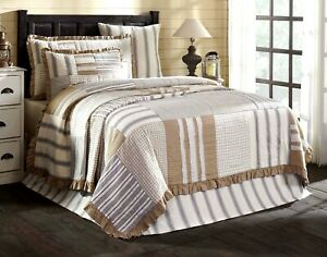Hand Quilted King Ruffled Quilt Country Patchwork Gray Tan Stripe Check Grace