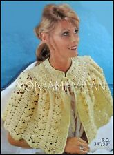 Vintage 1960 s CROCHET PATTERN * Femmes Pretty Lacy lit Cape Wrap Top * 34-38""