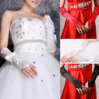 Women Party Bridal Wedding Fingerless Lace Stretch Satin Bowknot Long Gloves