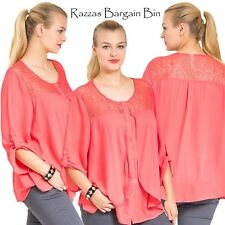 New Ladies Stunning Coral Layered Top Plus Size 16/1XL (9734)JW