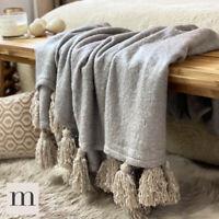 Luxury Large Soft Woollen Feel Silver Dove Grey Tassel Sofa Bed Blanket Throw