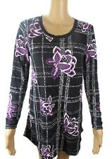 NWT Style Co Sweater Petite Size S Violet Floral Window Pane Long Sleeves $59
