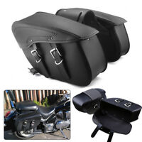 Black Motorcycle Saddle Bag PU Leather Left+Right Luggage Case Pannier Universal