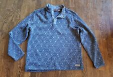 Merrell Mens xl jacket Fleece Pull Over THICK geometric Blue Snap modern EUC