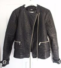 ASOS Black Faux Leather Biker Long Quilted Sleeve Zip Buckle Jacket Size 14
