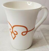 2014 Starbucks White Orange Stripe Diamond Scroll Coffee Mug Tea Cup 11 oz