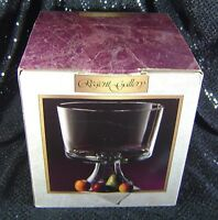 "Clear Glass Trifle Dessert Bowl on Pedestal 8"" Elegant Regent Gallery NEW IN BOX"