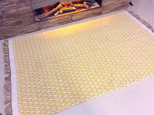 Yellow Geometric Handmade Natural Recycled Cotton Jute Kilim Area Rugs Runner