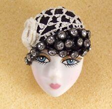 LADY HEAD woman FACE Porcelain-Look Resin brooch pin Vintage Crochet Flapper RS