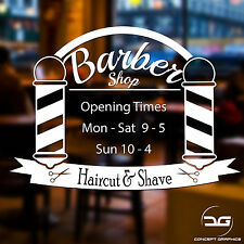 Barber Shop Opening Times Custom Personalised Custom Window Wall Sign Sticker