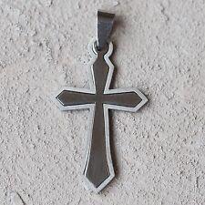 NUOVO 4,6cm rimorchio in acciaio inox con Croce Colore Argento Catena Rimorchio CROCI CROSS