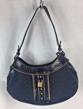 Liz Claiborne Fabric Black Purse Bag Reptile Print Trim Handbag