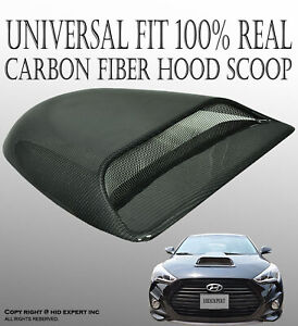 JDM 100% Real Carbon Fiber Hood Scoop Vent Cover Universal Fit High Quality F104