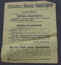 1. WK Plakat Tagesaufruf Aufmacher Münchner Zeitung Weichsel, Neues