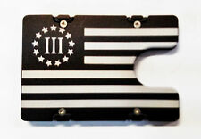 3% American Flag, Billetvault Aluminum Wallet,RFID protection, Black anodized