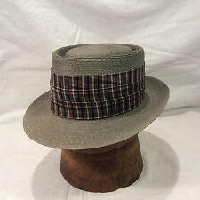 Grey Knoxx Straw Hat with Grey and Black Stripped Band -- Size 6 3/4