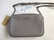 *NWT Michael Kors MK Fulton Pebble Leather LG East West Crossbody Bag Pearl Grey