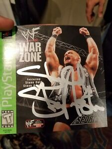 Stone Cold Steve Austin Signed WWF WarZone PS1 Game Cover with Game and Case Inc